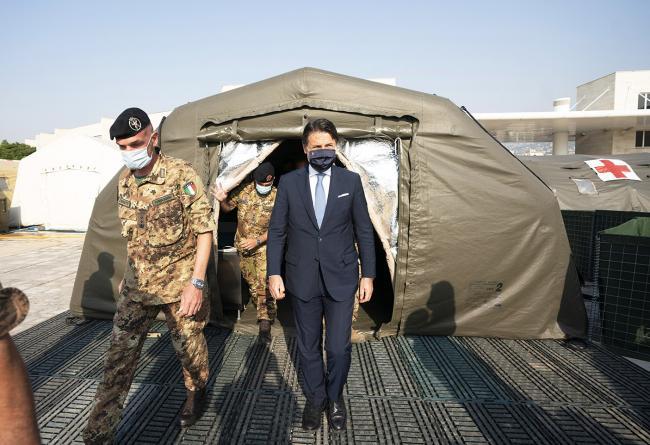 """Il Presidente Conte visita l'ospedale da campo dell'operazione """"Emergenza Cedri"""""""