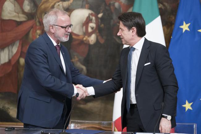 Il Presidente Conte ed il Presidente della BEI Hoyer