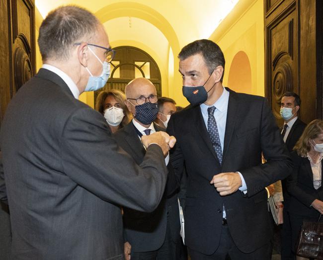 Sánchez presso la sede della Rappresentanza in Italia della Commissione europea