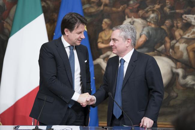 Il Presidente Conte ed il Vice Presidente della BEI Scannapieco