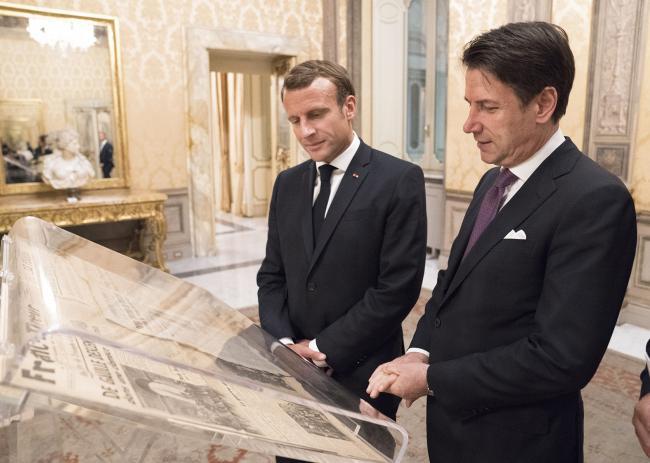 Il Presidente Conte e il Presidente francese Macron a Palazzo Chigi