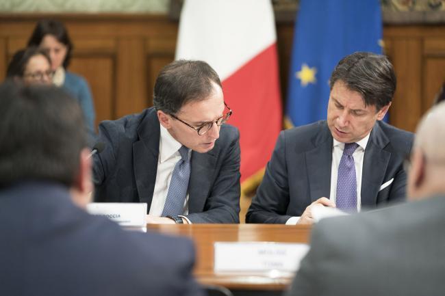Il Presidente Conte ed il Ministro Boccia alla Conferenza Stato - Regioni
