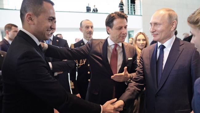 Il Presidente Conte e il Ministro Di Maio con il Presidente Putin alla Conferenza di Berlino sulla Libia