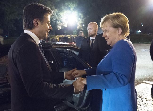Il Presidente Conte e la Cancelliera Merkel al Casino del Bel Respiro