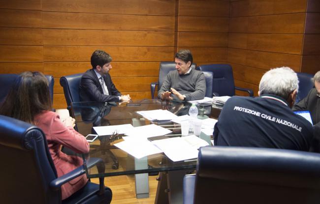 Coronavirus, il Presidente Conte e il Ministro Speranza al Dipartimento della Protezione Civile