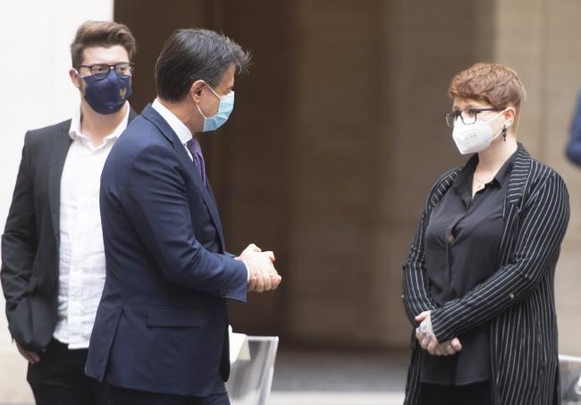 Il Presidente Conte con la signora Emanuela Bianchi