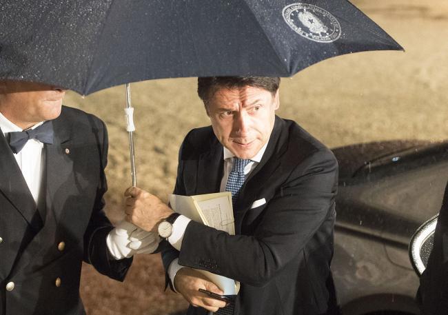 Il Presidente Conte al suo arrivo al Casino del Bel Respiro
