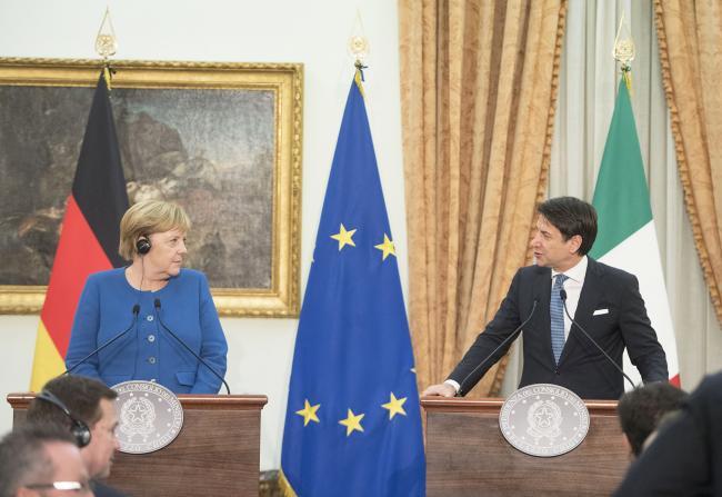 Il Presidente Conte e la Cancelliera Merkel in conferenza stampa